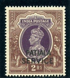 India - Patiala 1944 KGVI Official 2r purple & brown superb MNH. SG O83. Sc O75.