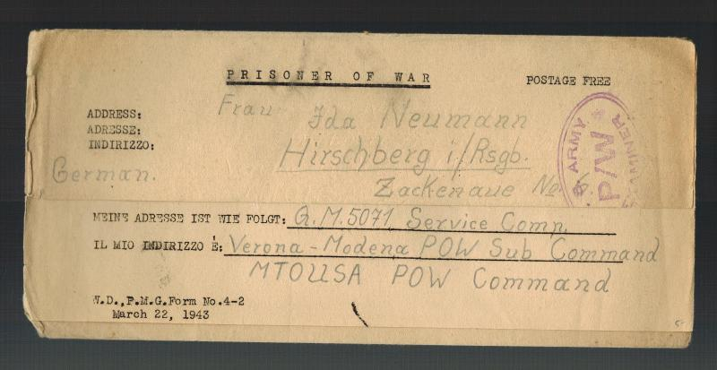 1945 Verona Italy USA Army MTOUSA POW Camp Letter Cover Germany Prisoner of war