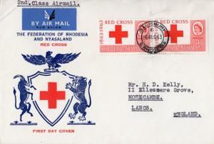 Rhodesia and Nyasaland 1963  Sc#188 Red Cross Pair Travel letter FDC