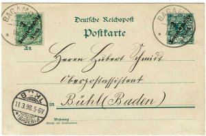 German East Africa 1898 Bagamoyo cancel on uprated postal card to Germany