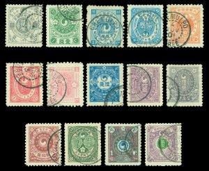 KOREA Empire 1900-01  Yin Yang  2re - 2wn complete set  Scott# 18-33 used  F/VF