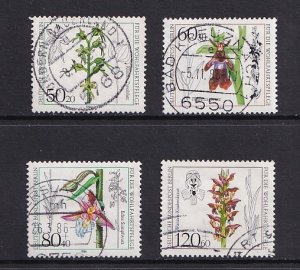Germany Berlin  #9NB216-9NB219    used   1984   flowers orchids