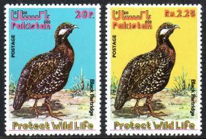 Pakistan 387-388, MNH. Wildlife Protection. Black Partridge, 1975