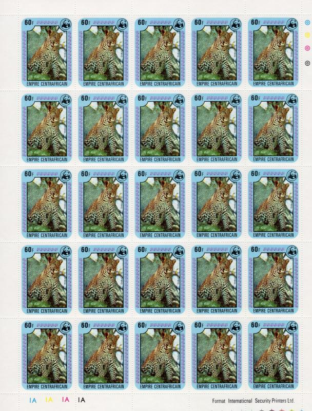 Central African Republic 1978 Sc#323/328 WWF Wildlife Mini-Sheetlet(25) Unfolded