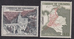Colombia # C345-346, Overprinted with Airplane, High Values, NH, 1/3 Cat.