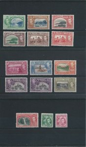 TRINIDAD & TOBAGO 1938-44 SET OF FOURTEEN PLUS 12c SHADE MM SG 246/256 CAT £110+