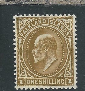 FALKLAND IS 1904-12 1s BROWN MM SG 48 CAT £45