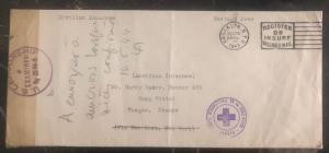 1943 NY USA Cover to Harry Rakow Vittell Internment Camp Vosges France