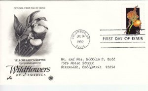1992, Wildflowers-Yellow Lady's Slipper, Artcraft/PCS, FDC (E9125)