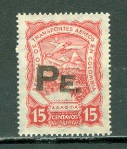 COLOMBIA 1923 SCADTA  15 Centavos OVPT for PERU CONSULAR...CAT. SANABRIA #SPE3