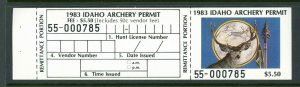 IDAHO 1983 ARCHERY STAMP  WITH FULL TAB. BIG DISCOUNTS FOR  QUANTITY BUYERS