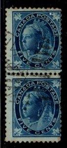 Canada Sc 70 1897 5c blue Victoria Maple Leaf stamp pair used