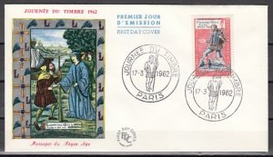 France, Scott cat. B358. Stamp Day. Messenger shown. First day cover. ^