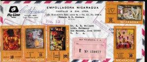 Nicaragua 1971 Ten Commandments Scott 890-898+C776 C777. Registered Covers (2)
