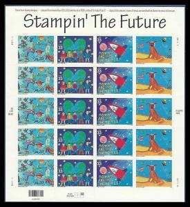US 3414-3417 Stampin' the Future 33 cent Stamp Sheet MNH