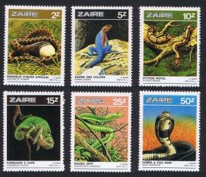 Zaire MNH 1231-6 Reptiles Snakes Lizards 1986