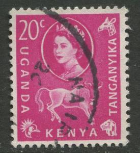 Kenya & Uganda - Scott 123 - QEII Definitive -1960 - Used - Single 20c Stamp
