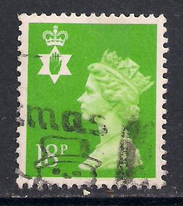 Northern Ireland GB 1991 QE2 18p Bright Green Center Phos SG NI 47 ( K109 )