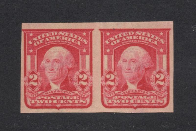 US#320 Carmine Type I - Imperf. Pair - Unused - O.G. - N.H.