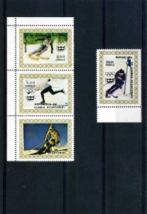 Equatorial Guinea 1976 INNSBRUCK OLYMPIC SKI set 4 values Perforated Mint (NH)