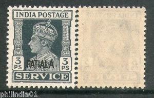 India PATIALA State KG VI 3ps SERVICE SG O71 / Sc O63 Cat. £2 MNH Stamp