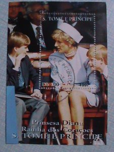 1997 ST. THOMAS : LADY DIANA AND TWO SONS SOUVENIR SHEET