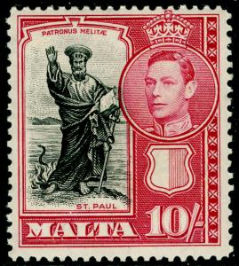 MALTA SG231, 10s black & carmine, LH MINT. Cat £19.