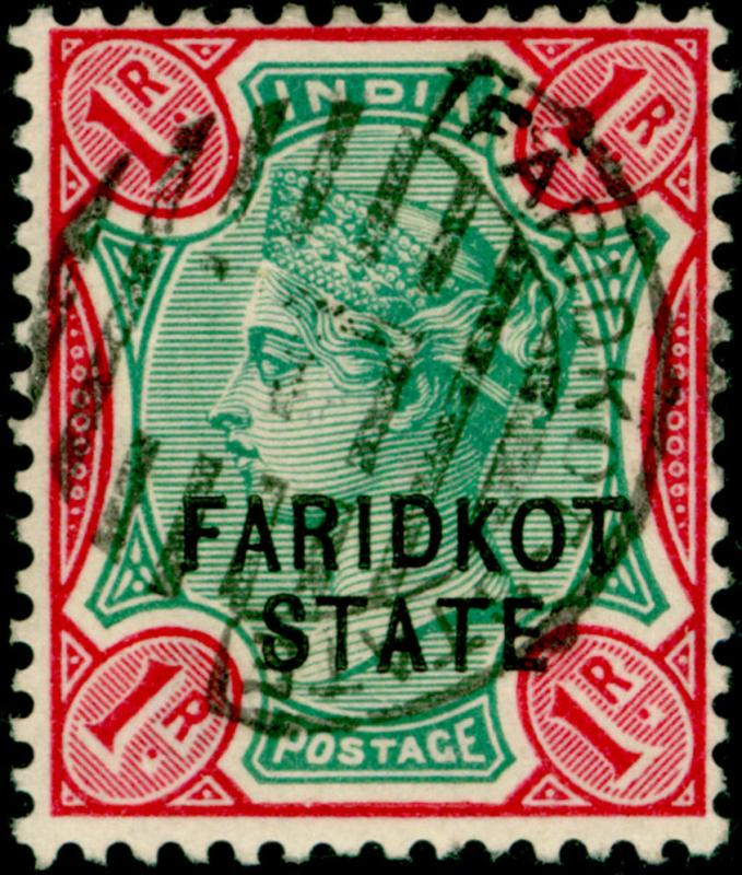 Sg16, 1r green & carmine, VERY FINE used. Cat £120. FARIDKOT STATE