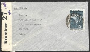 Doyle's_Stamps: Brazil to NYC Censored WWII-Era Cover Postal History