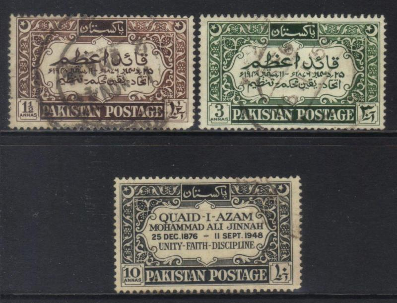 PAKISTAN 1949 FIRST DEATH ANNIV MOHAMMED ALI JINNAH USED SET OF 3 CAT £11+