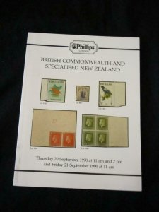 PHILLIPS AUCTION CATALOGUE 1990 BRITISH COMMONWEALTH AND SPECIALISED NEW ZEALAND