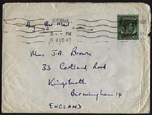 MALAYA BMA 1947 50c on cover Seremban to UK................................94876