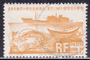 St. Pierre & Miquelon 337 USED 1947 Fishing Boat & Dinghy