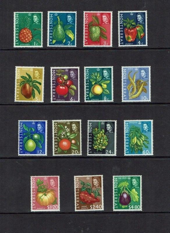 Montserrat: 1965, Fruit, Vegetables, Flowers, definitive, part set,  Mint