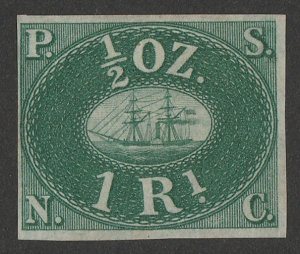 PERU : 1857 Pacific Steam Navigation Co 1R green, unissued. Only 800 printed.