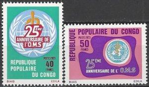 Congo 276-7  MNH  UN WHO 25th Anniversary