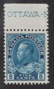 Canada #111 VF/NH Imprint Single **With Certificate**
