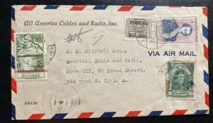 1948 Ecuador American Cables & Radio Airmail cover to New York USA UPu Overprint