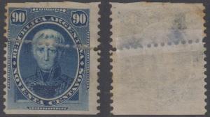 ARGENTINA 1873 SAAVEDRA Sc 26 TOP VALUE FREAK HORIZONTAL PERFS UNUSED RARE!