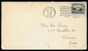 US LOWELL, MA 7/30/1914 5C NIAGARA BRIDGE COVER TO DENVER, CO AS SHOWN