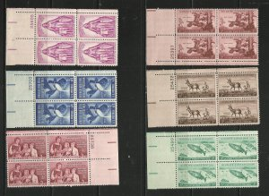 USA Stamps #1077,1078,1079,1087,1090,1093 Plate Blocks of 4