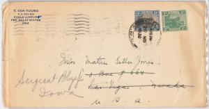 TIGERS -  MALAYA  -  POSTAL HISTORY -  COVER to USA 1930
