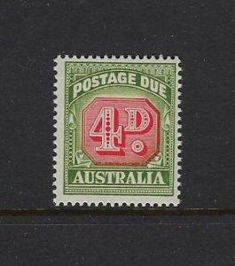 AUSTRALIA SCOTT #J89 1958-60 POSTAGE DUES 4D (TYPE I)  - MINT NEVER HINGED