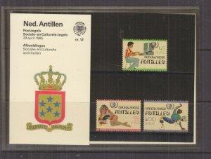 NETHERLANDS ANTILLES,1985 Social Welfare Fund set of 3, Folder 12