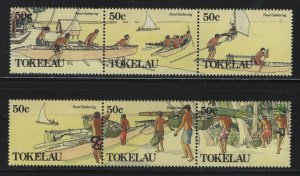 Tokelau  174A-177A (2) STRIP OF 3, HINGED, 1990 Men's handicrafts