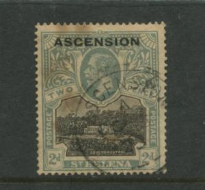 Ascension - Scott 13 - Seal of Colony Issue -1924 - Used - Single 2d Stamp