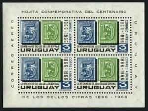 1967 Uruguay 1080/B7 100 years of stamps of Uruguay