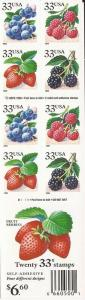 US Stamp - 1999 Blackberries - Booklet Pane of 20 Stamps #3297d