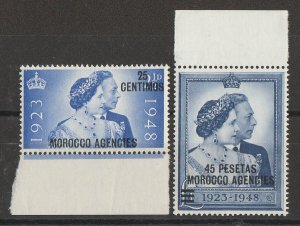 MOROCCO AGENCIES Spanish Currency : 1948 KGVI Silver Wedding set. MNH **.