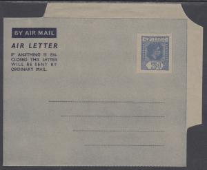 Fiji H&G FG3 mint 1952 3p KGVI Aerogramme, VF